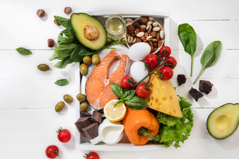 ketogenic low carbs diet food selection on white background