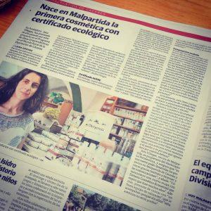 Noticia en Hoy Extremadura de Dehesa Cosmética Econatural